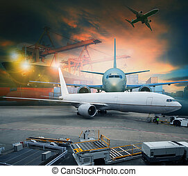 rakomány, alkalmaz, berakodás, konténer, rakomány, iparág, várakozás, hajózás, levegő, repülőtér, repülőgép, kereskedés, sors, ingóságok, munkaszervezési, szállít