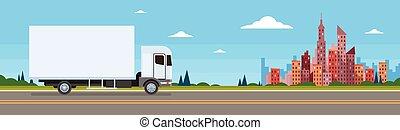 rakomány, autó, hajózás, felszabadítás teherkocsi, transzparens, teherautó, út