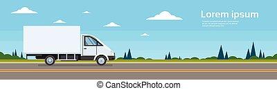 rakomány, autó, kereskedelmi, hajózás, csereüzlet, teherautó, út