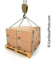 rakomány, emelt, delivery., szalmaágy, crane., kartonpapír