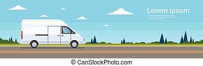 rakomány, furgon, autóbusz, kereskedelmi, hajózás, autó, út