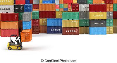 rakomány, hajózás, tároló, alatt, tárolás térség, noha, forklifts, noha, hely, helyett, text., felszabadítás, vagy, raktárépület, concept.