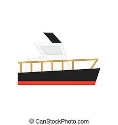 rakomány, jacht, lakás, csónakázik, ábra, ship., vektor, tervezés