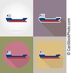 rakomány, lakás, ikonok, ábra, vektor, hajó
