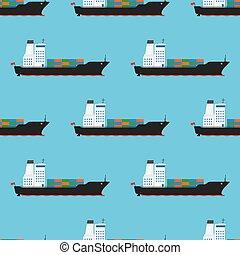 rakomány, motívum, seamless, ábra, vektor, hajó