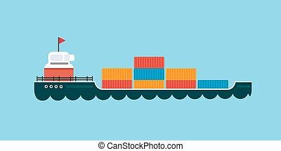 rakomány, szállítás, illustration., vektor, tenger, hajó