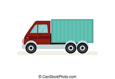 rakomány, szolgáltatás, lakás, autó, transport., theme., elem, felszabadítás, vektor, poszter, kicsi, truck., városi