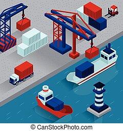 rakomány, tengeri kikötő, isometric, berakodás, fogalom