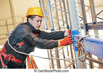 raktárépület, állvány, munkás, beiktató, egyezség