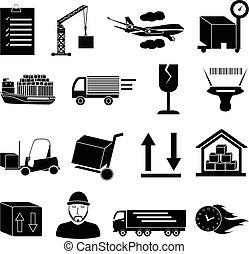 raktárépület, logisztika, állhatatos, ikonok