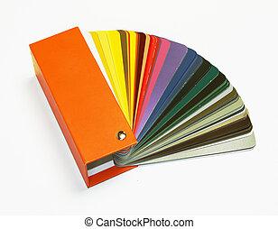 ral, colores, abierto, catálogo, muestra