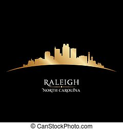Raleigh North Carolina city silhouette black background