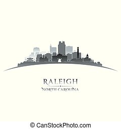 Raleigh North Carolina city silhouette white background