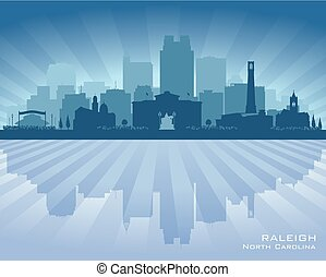 Raleigh North Carolina city skyline vector silhouette