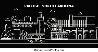 Raleigh silhouette skyline. USA - Raleigh vector city, american linear architecture, buildings. Raleigh travel illustration, outline landmarks. USA flat icons, american line banner