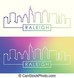 Raleigh skyline. Colorful linear style.