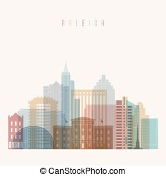 Raleigh state North Carolina skyline detailed silhouette.