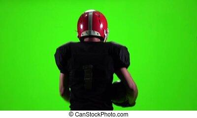ralenti, écran, joueur football, courant, vert, ball.