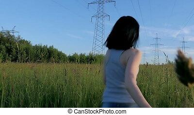 ralenti, courant, field., girl, travers