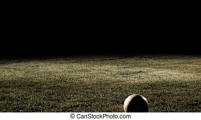 ralenti, joueur, automne, football, coup de pied