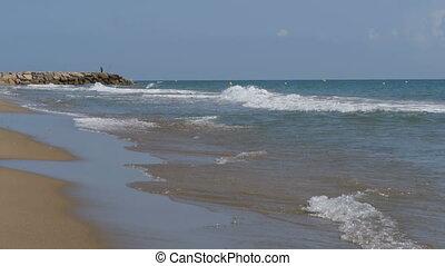 ralenti, mer sable, vagues, rouler, plage