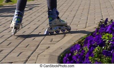 ralenti, park., enfant, pablic, skates., jambes, rouleaux, rouleau