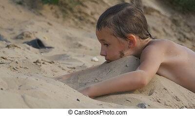 ralenti, sable, enfant, plage, jouer