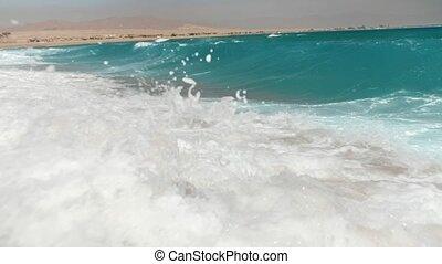 ralenti, vidéo, 4k, mer, vagues, rouler, plage