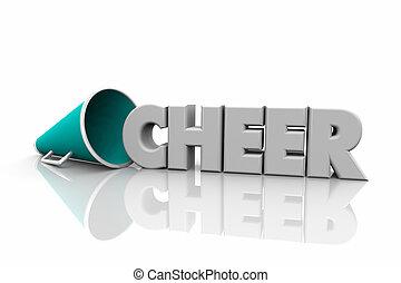 rallegrare, megafono, bullhorn, parola, 3d, illustrazione