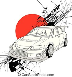 Rally Car Line Art