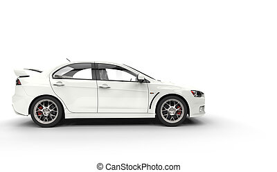 Rally Car White Side View