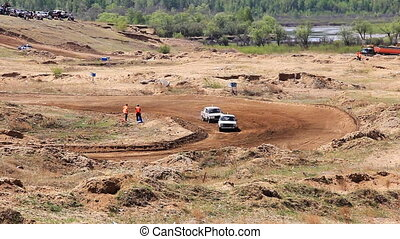 Rally cross of Lada classic cars in russian province