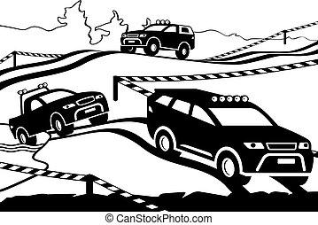 rally, fora-estrada, veículos
