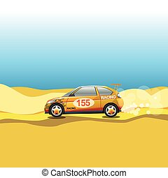 Rally in a desert. Racing car safar