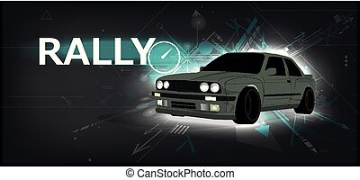 Rally poster, detailed sports car, trendy design. Fast...