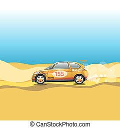 Rally, Racing Car in a Desert