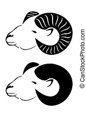 A tribal rams head with horns