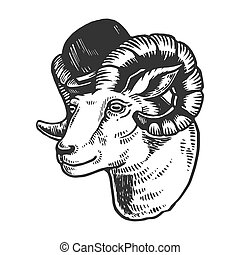 Ram animal in bowler hat engraving vector illustration....