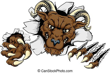 Ram break out - A mean looking ram mascot character breaking...