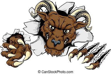Ram break out - A mean looking ram mascot character breaking...