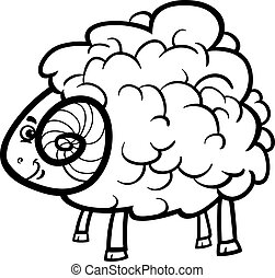 ram cartoon illustration for coloring book