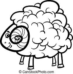 ram cartoon illustration for coloring book