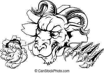 Ram claw breakthrough - A scary ram mascot ripping through...