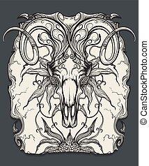 ram, cranio, gravura, ilustração