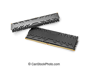 Ram DDR4 memory modules isolated on a white background. -...