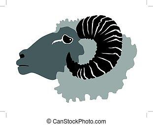 ram, domestic animal - vector illustration of ram