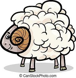 ram farm animal cartoon illustration