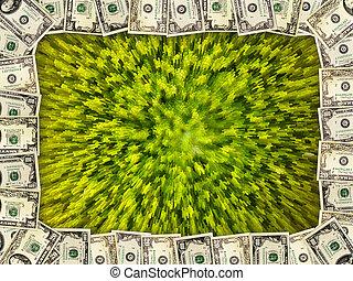ram, från, den, dollars, på, den, grön, abstraktion