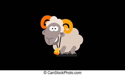 Ram Funny Animal Character Chinese Horoscope. Motion...