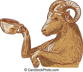 Ram Goat Drinking Coffee Drawing - Drawing sketch style...